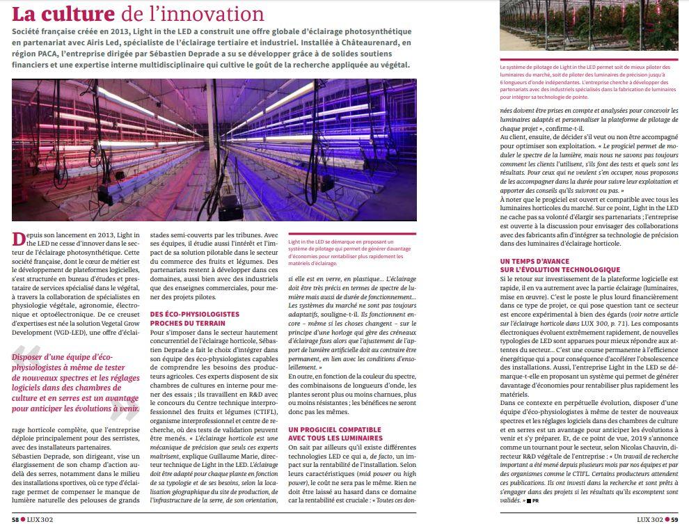 Article Lux Juin 2019 - LA culture de l'innovation