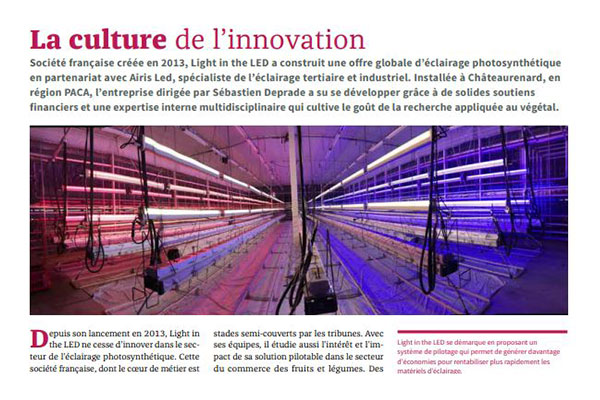 Article Lux - Juin 2019 - La culture de l'innovation éclairage led photosynthèse Airis