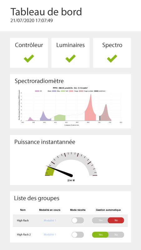 Capture tableau de bord logiciel VGD version mobile